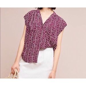 Anthropologie Maeve Button Purple Blouse Small